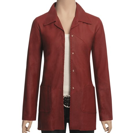 Scully Lambskin Leather Shirt Jacket (For Women) in Red