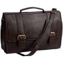 Scully Leather Double-Buckle Laptop Briefcase in Brown - Closeouts