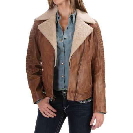 Scully Leather Trail Jacket - Detachable Faux-Shearling Collar (For Women)