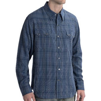 Scully Lifestyle Polynosic Check Shirt - Snap Front, Long Sleeve (For Men) in Blue