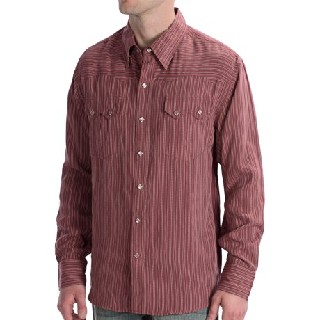 Scully Lifestyle Polynosic Stripe Shirt - Snap Front, Long Sleeve (For Men) in Burgandy