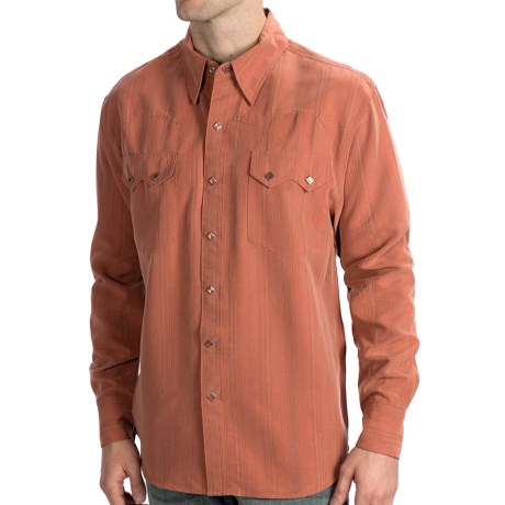 Scully Lifestyle Polynosic Tonal Stripe Shirt - Snap Front, Long Sleeve (For Men) in Rust