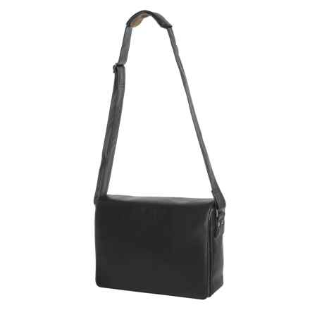 Scully Messenger Bag - Leather in Black - Closeouts
