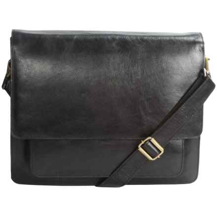 Scully Milano Messenger Bag/Briefcase - Leather in Black - Closeouts