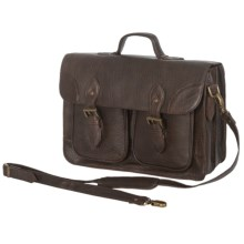 Scully New Zealand Lamb Leather Briefcase in Chocolate - Closeouts