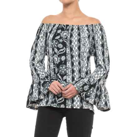 Scully Peasant Blouse - Long Sleeve (For Women) in Black/White - Closeouts