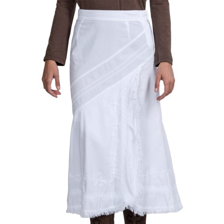 Scully Raw-Edge Wrap Skirt - Peruvian Cotton (For Women) in White