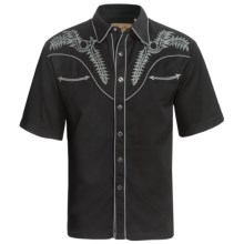 Scully Retro Boot Stitch Western Shirt - Short Sleeve (For Men) in Black - Closeouts