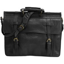 Scully Roma Double Flap Overnight Briefcase in Black - Closeouts