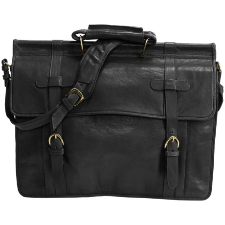 Scully Roma Double Flap Overnight Briefcase in Black