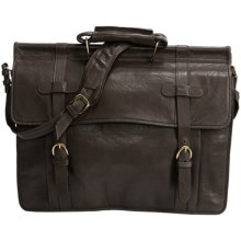 Scully Roma Double Flap Overnight Briefcase in Brown - Closeouts