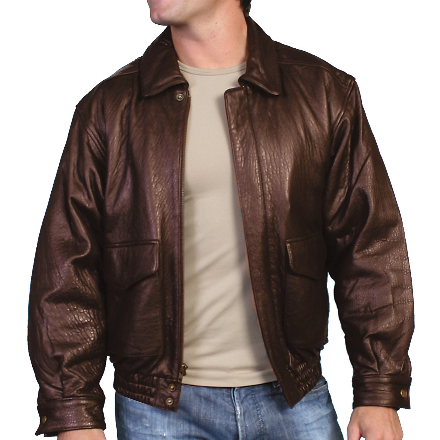 Scully Rugged Jacket - Lambskin Leather (For Men) in Dark Brown