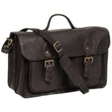 Scully Sierra Smooth Lamb Leather Briefcase in Brown - Closeouts