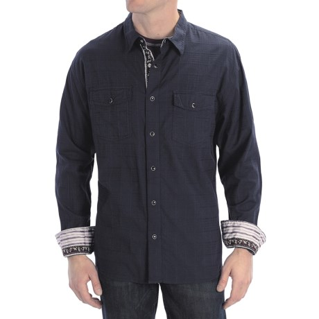 Scully Signature Tonal Check Shirt - Snap Front, Long Sleeve (For Men) in Navy