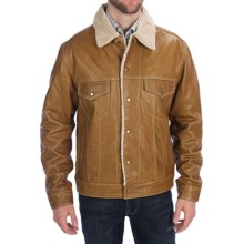 Scully Soft Lamb Leather Jean Jacket (For Big Men) in Cognac - Closeouts
