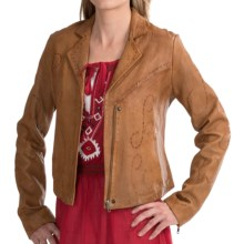 Scully Swirl Whipstitch Jacket - Lamb Leather (For Women) in Cognac - Closeouts