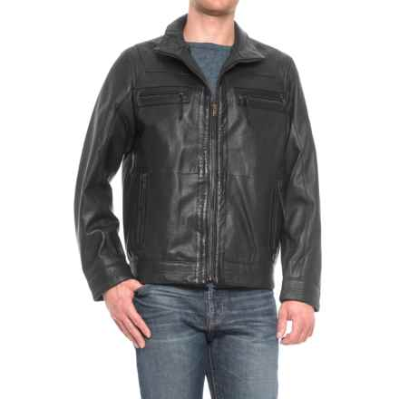 Scully Textured Leather Jacket (For Men) in Dark Black - Closeouts