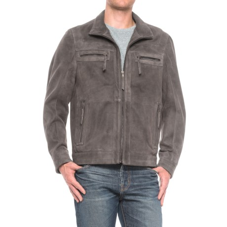 Scully Textured Leather Jacket (For Men) in Distressed Gray