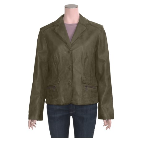 Scully Three-Button Leather Jacket (For Women) in Green