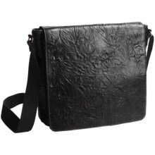 Scully Washed Leather Messenger Bag in Black - Closeouts