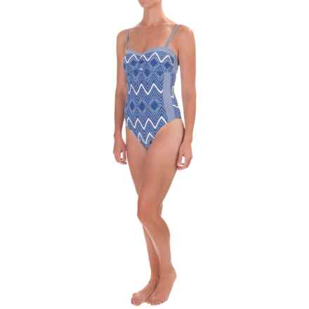 Sea Level Chevron Bandeau One-Piece Swimsuit - Molded Cups (For Women) in Denim - Closeouts