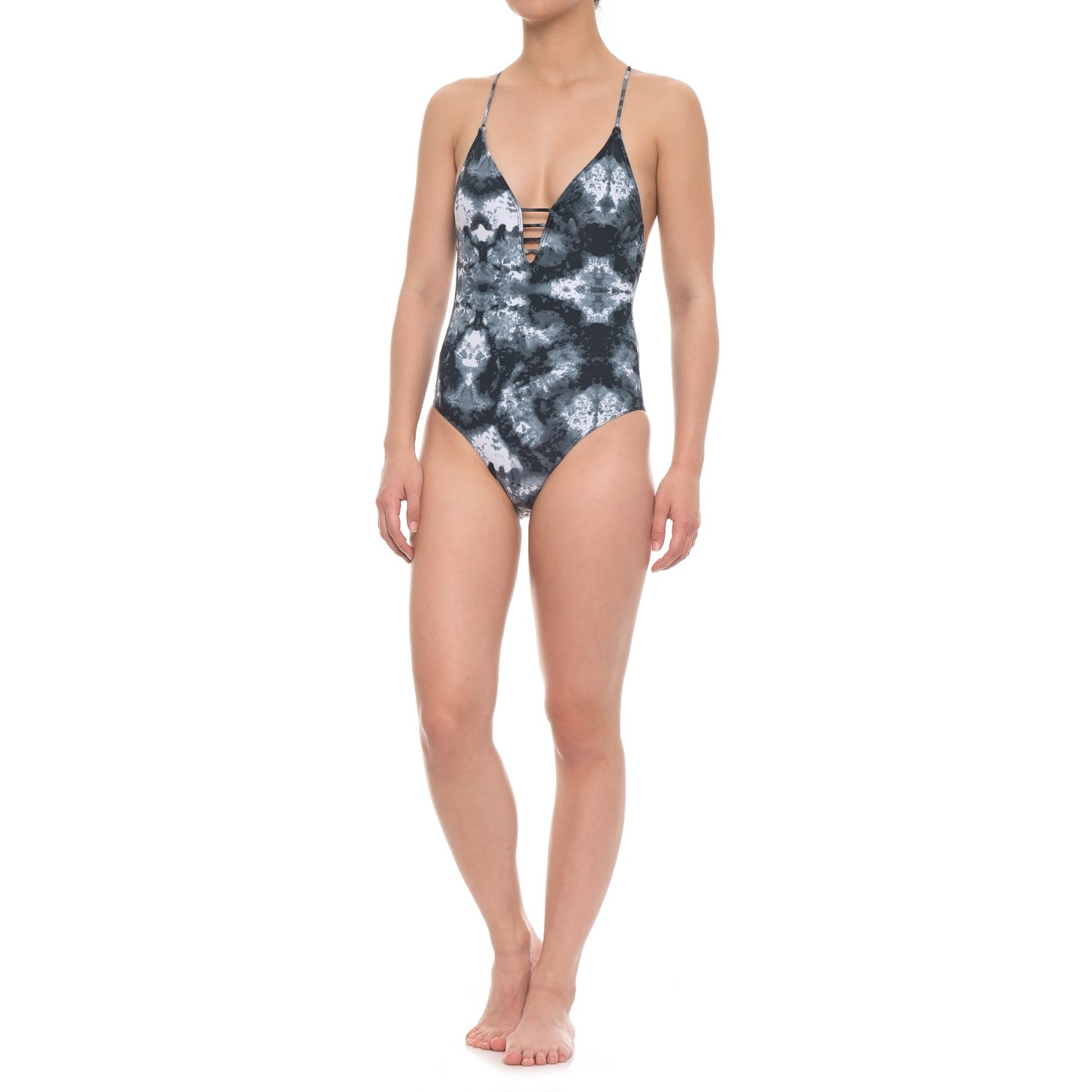 Sea Level Marble Plunge One-Piece Swimsuit - Removable Cups (For Women)