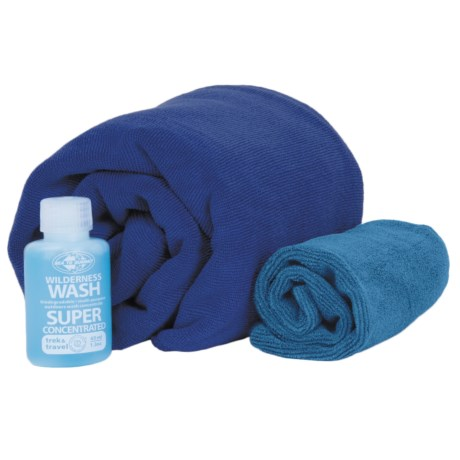 Sea To Summit Sea to Summit Tek Towel Wash Kit in Cobalt/Pacific