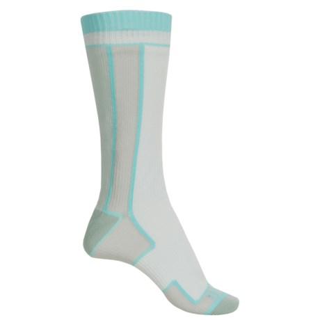 Sealskinz Thin Merino Wool Socks - Waterproof, Mid Calf (For Women) in White/Aqua