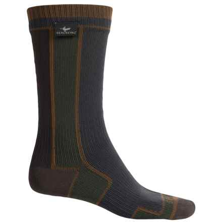 SealSkinz Waterproof Walking Socks - Merino Wool Lined, Crew (For Men and Women) in Grey/Green - Closeouts