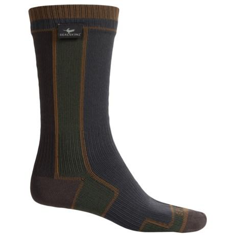 SealSkinz Waterproof Walking Socks - Merino Wool Lined, Crew (For Men and Women) in Grey/Green