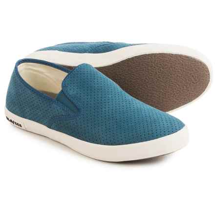 SeaVees 02/64 Baja Varsity Sneakers - Suede, Slip-Ons (For Women) in Tide Blue - Closeouts