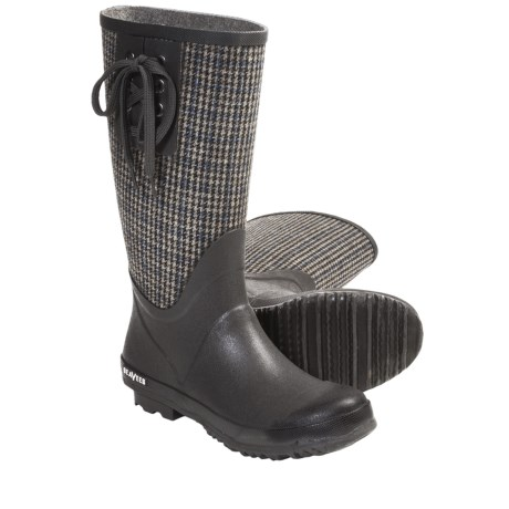 SeaVees 04/65 Mid-Length Off Shore Rubber Boots (For Women) in Grey/Plaid Flannel