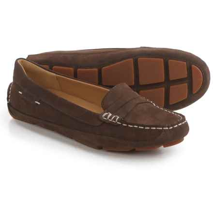 Sebago Kedge Penny Loafers - Nubuck (For Women) in Dark Brown - Closeouts