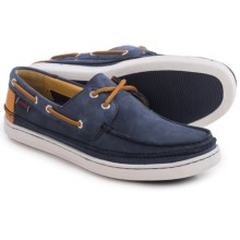 Sebago Ryde Two-Eye Boat Shoes - Nubuck (For Men) in Navy Nubuck/Tan Leather - Closeouts