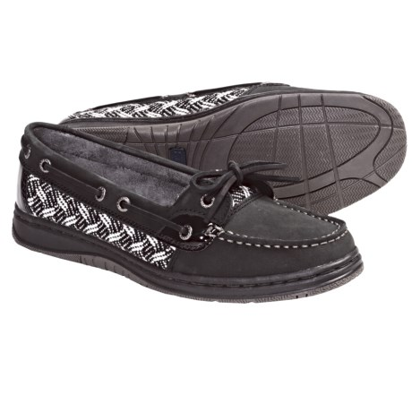 Sebago Sands One-Eye Boat Shoes -Leather (For Women) in Black Herringbone