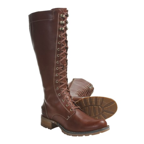 Sebago Saranac Tall Boots - Leather, Lace-Ups (For Women) in Dark Brown