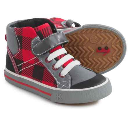 See Kai Run Dane Sneakers - Vegan Leather, Fleece Line (For Little and Big Boys) in Red Plaid - Closeouts