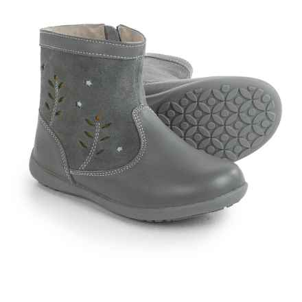 See Kai Run Mizuki Boots - Leather (For Toddlers and Little Girls) in Grey/Mint - Closeouts