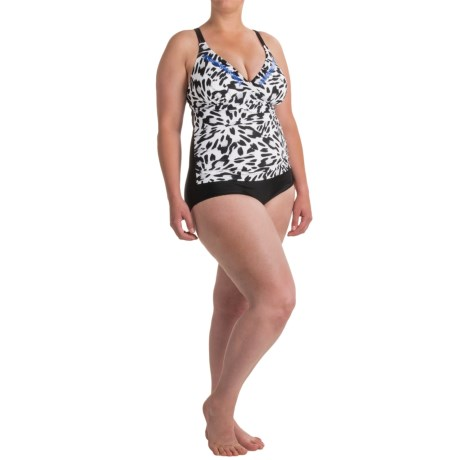 Seekers Contour Animal Print One-Piece Plus Size Swimsuit (For Women) in Black/White