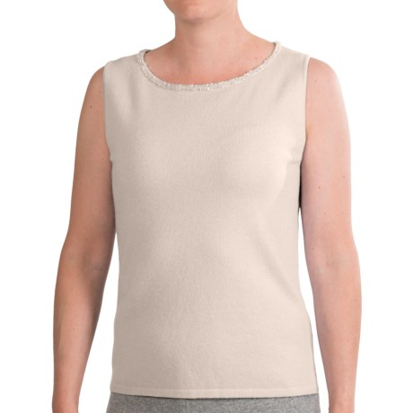 Select Belford Beaded Neck Sweater Tank Top - Cashmere, Sleeveless (For Women) in Ivory