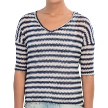 Semi-Sheer Zigzag Sweater - 3/4 Sleeve (For Women) in Navy/White - 2nds
