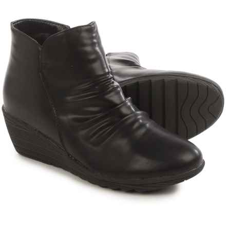 Serene Chiaral Ankle Boots - Vegan Leather, Wedge Heel (For Women) in Black - Closeouts