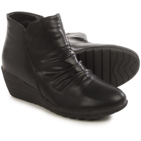Serene Chiaral Ankle Boots - Vegan Leather, Wedge Heel (For Women) in Black