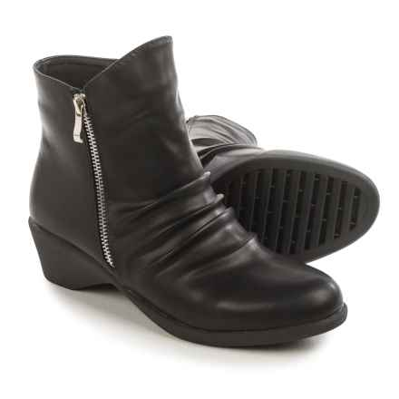 Serene Cokas Ruched Ankle Boots (For Women) in Black Nubuck - Closeouts