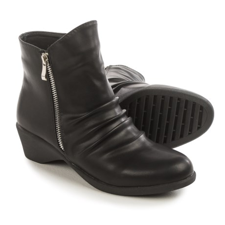 Serene Cokas Ruched Ankle Boots (For Women) in Black