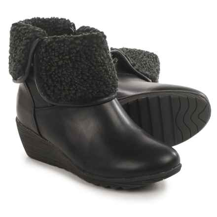 Serene Luuk Wedge Ankle Boots - Vegan Leather (For Women) in Black Pu - Closeouts