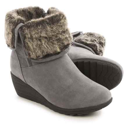 Serene Luuk Wedge Ankle Boots - Vegan Leather (For Women) in Grey Suede - Closeouts