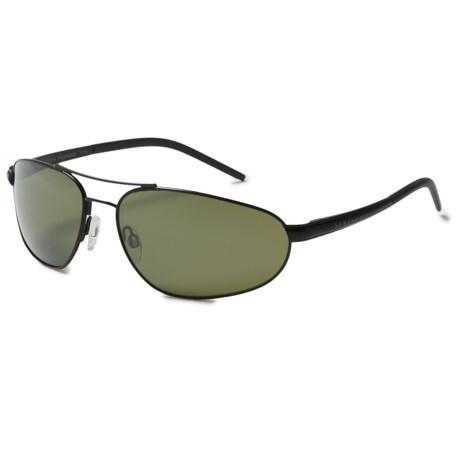 Serengeti Como Sunglasses - Polarized, Photochromic Glass Lenses in Satin Black/Polarized 555Nm