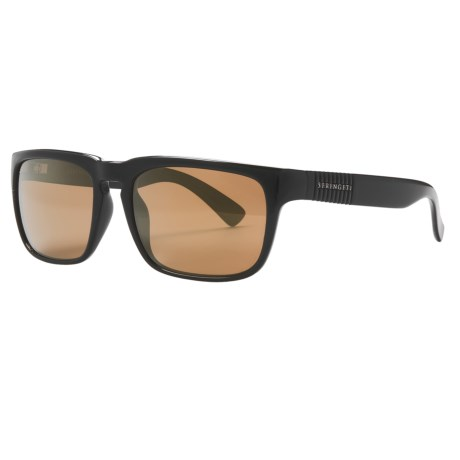 Serengeti Cortino Sunglasses - Polarized, Photochromic Glass Lenses in Shiny Black/555Nm