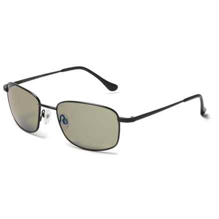 Serengeti Palinuro Sunglasses - Polarized, Photochromic Glass Lenses in Satin Black/Blue Mirror - Overstock